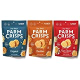 Contains 3 - 1.75 Ounce bags of ParmCrisps (1 each of Original, Cheddar, Four Cheese) Made with real, natural Wisconsin cheese and oven-baked to a crunchy crisp Keto Friendly, Atkins Friendly, high-protein. Non-GMO, Gluten Free, Sugar Free, and Wheat...