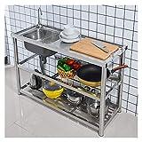 HYEBOX Fregadero Comercial de Acero Inoxidable 304 Incluye Grifo de Agua Caliente y fría de un Solo tazón Restaurante Bar Utilidad Fregadero móvil para Cocina Lavadero al Aire Libre
