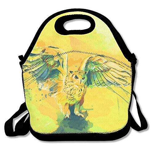 N / A Cajas de Almuerzo Pintura de búho Amarillo Caja de Almuerzo Contenedor de Comida Bolso de Mano de Almuerzo Diseñador de Moda Fresco Caja de Almuerzo para el Trabajo, la Oficina, la Escue