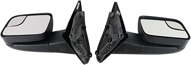 Towing Mirror Compatible With 2002-2008 Dodge Ram 1500 2002-2009 Ram 2500 3500 | Side View Towing Mirrors Manual LH RH by IKON MOTORSPORTS | 2003 2004 2005 2006 2007