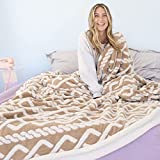 Ailemei Sherpa Fleece Throw Blanket with Braided Knit Pattern, Reversible Fuzzy Soft Fluffy Plush Bed Blankets for Winter, Throw Thermal Blankets for Couch, Sofa, Khaki