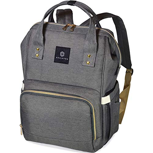 Diaper Bag Backpack Waterproof & Stylish Baby Maternity Back Pack for Mom & Dad (Grey)