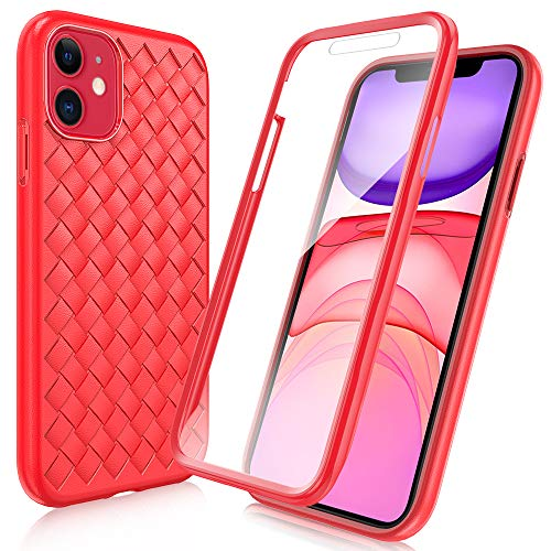 "FYY [Anti-Germs Antibacterial Case] for iPhone 11 6.1"", [Built-in Screen Protector] Stylish Heavy Duty Protection Full Body Protective Bumper Case Cover for Apple iPhone 11 6.1"" Red"