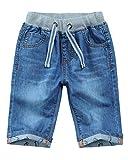 Pantalones Cortos Vaqueros Niño Cintura Elástica Shorts de Mezclilla Bermudas Jeans de Verano Azul 160