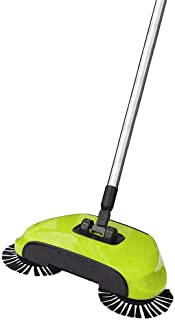 Spin Broom/Sweeper, As Seen on TV.Lightweight Cordless Spinning Broom for Sweeping Hard Surfaces Like Wood, Tiles and Concrete. 3-in-1 Non-Electricity Lazy Push Dust Collector. (Assort Colors)