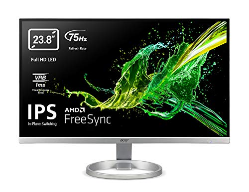 Acer R240Ysi 60 cm (23,8 Zoll) FullHD Monitor (ZeroFrame, FreeSync, IPS, LED, 1 ms (VRB), 250nits, VGA, HDMI, EcoDisplay), Silber, schwarz