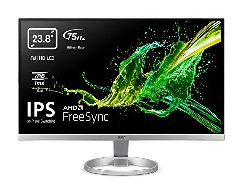 "Acer R240Ysi - Monitor de 23.8"" FullHD (60cm, ZeroFrame, FreeSync, IPS, LED, 1ms (VRB), 250nits, VGA, HDMI, EcoDisplay), Plata, Color negro"