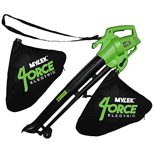 Mylek Leaf Blower And Vacuum - 3000W Garden Shredder Mulcher And Rake , 6 Variable Speeds, 10m Power Cable, UK PLug, 2 x 35L Large Collection Bags, 10:1 Mulching Shredding Ratio, Lightweight