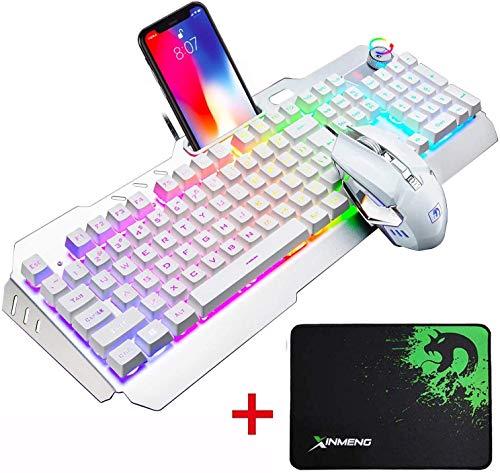 UrChoiceLtd Tastatur Maus Bunte Regenbogen-LED Backlit Usb Gaming Tastatur Mit Einem Telefonstand Und Feuerzeug Stand + 2000DPI Spiel Maus Sets +Gaming Mausunterlage Für Laptop Computer (Weißes Grau)