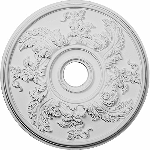 """Ekena Millwork CM23AC Acanthus Twist Ceiling Medallion, 23 5/8""""OD x 4 5/8""""ID x 1 7/8""""P (Fits Canopies up to 8 3/8""""), Factory Primed"""