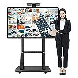 SUBBYE Soporte TV Universal Soporte de TV Móvil para Televisores de Más de 65 Pulgadas, Moderno Soporte de Pantallas de Panel Plano con Ruedas y Estante AV - Altura Ajustable, 120 Kg