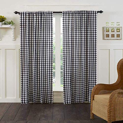 """AK TRADING CO. Black & White Gingham/Checkered 100% Polyester Curtain Window Treatment and Decor Panel 56"""" x 36"""""""
