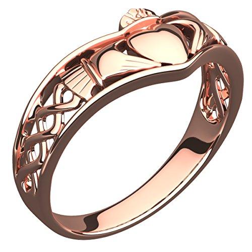 GWG Jewellery Damen Ringe Geschenk Claddagh Ring 18K Roségold vergoldetes Halbband und Keltisches Knotendesign – 6 für Frauen