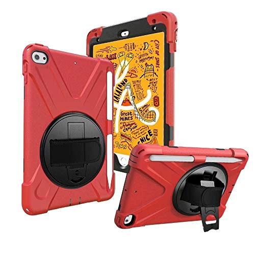 GHC PAD Cases & Covers For iPad MI-NI 5 2019, Heavy Duty Silicon Cover 360 Rotating Shockproof Hand Strap Pencil Holder Cover for iPad MI-NI 5 (Color : Red)