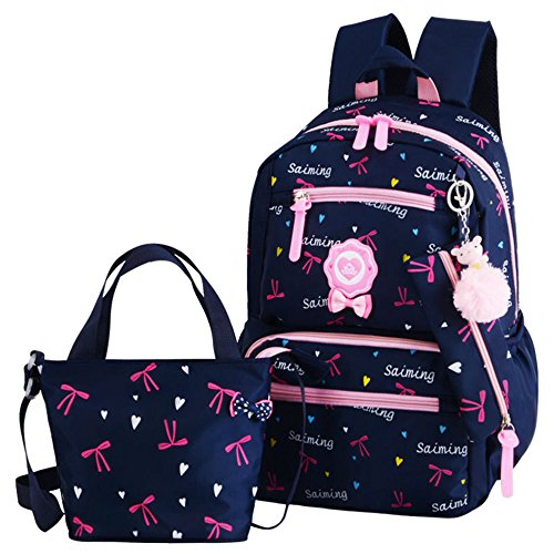VIDOSCLA Cartoon Printed Football Trolley Backpack Elementary Book Bag Primary School Bag with Wheels for Kids