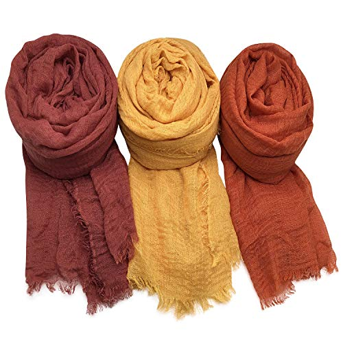 AxeSickle Women Scarf Shawl for All Season 3PCS Scarve Wrap Head Scarve C.