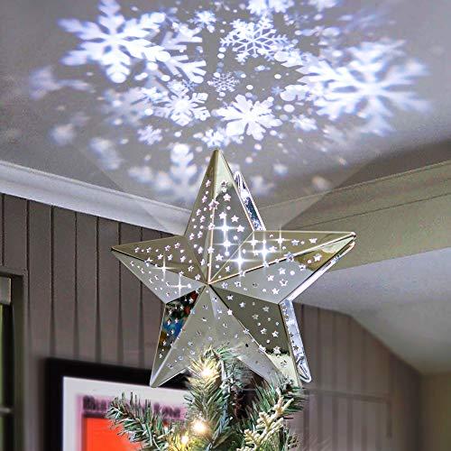 KPCB Tech Estrella de Navidad Proyector de Tormenta de Nieve con Superficie Metálica el Color Plateado
