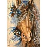 SINACO Kit de pintura de diamante 5D para adultos y niños, para decoración de pared del hogar, diseño de caballo azul, 11,8 x 15,7 pulgadas, 1 paquete