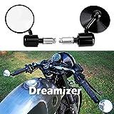 DREAMIZER Redondo Espejo Retrovisor Moto, Espejos de extremo de barra de manija de 7/8' 22 mm para Street Bike Dirt Bike Scooter Chopper Cruiser