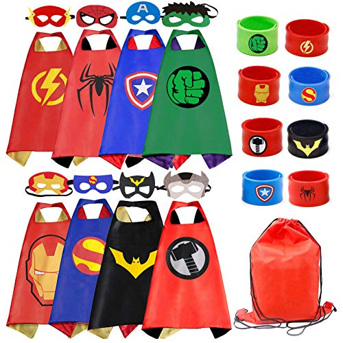 Kids Dress Up 8PCS Superhero Capes Set and Slap Bracelets for Boys Costumes Birthday Party Gifts