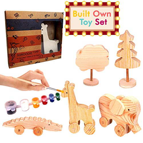 Wooden Toys Set, Craft for Kids, Unpainted Craft Kits Made of Pine Wood (Elephant, Giraffe and Crocodile)