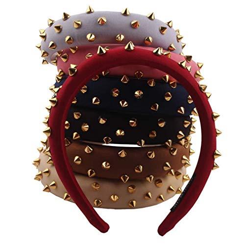 Punk gotico donne ragazza tinta unita ampia fascia in metallo borchiato rivetto vintage roccia capelli cerchio spessa spugna imbottito gioielli copricapo (nero)