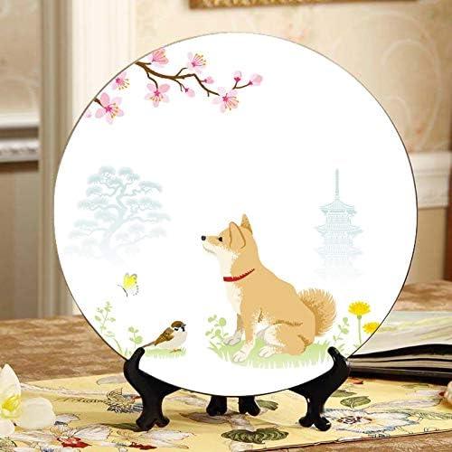 Cute Max 71% OFF Cartoon Shiba Inu Dog Plate Mesa Mall Display Decorative Plates Displ