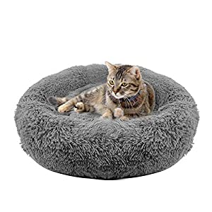 YITO Cat Beds for Indoor Cats, 20″ & 24″ Cat Bed Round Donut Cuddler Dog Bed for Small Dogs Fluffy Pet Sofa Cushion for Snuggle Puppy Washable Soft Plush Marshmallow Dog Cat Bed Warming
