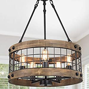 LALUZ Farmhouse Chandelier for Dining Room, 5-Light Rustic Chandelier for Kitchen Island, Entryway
