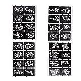 HEALLILY 4 Hojas Pegatinas de Tatuajes de Animales Impermeables Autoadhesivos Ahuecados Pegatinas de Plantilla Temporal Stickers Gótico Mezcla Estilo Duradero Tatuaje de Arte Corporal