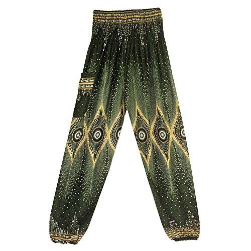 Sunenjoy Femmes Hommes Yoga Pantalon Taille Haute Hippy Smock Fluide Culotte Bouffant Elastique Aladin Harem Bohême Imprimé Combinaisons Sarouel Mode Casual Loose Été (Taille Libre, Rose Vif)