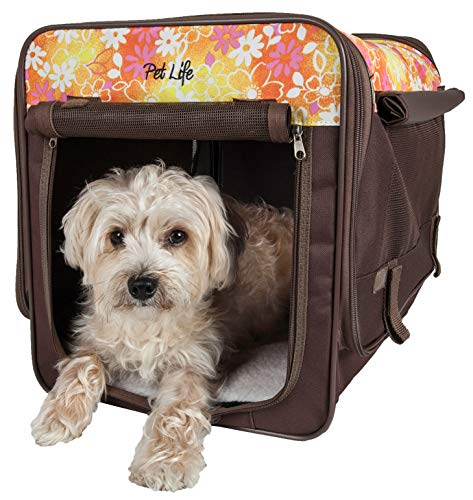 PET LIFE 'Floral Patterned' Folding Collapsible Lightweight Wire Framed Pet Dog Crate House Tent, Small, Brown and Red Floral