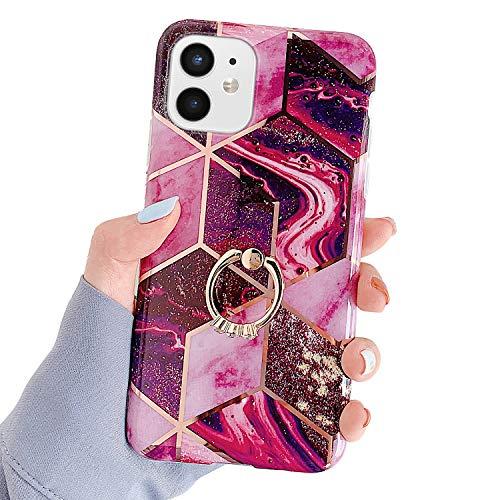 Kompatibel mit iPhone 12 Mini 5.4 Hülle,Glänzend Bling Glitzer Marmor Design Muster Schutzhülle mit 360 Ring Ständer Ultra Dünn Weiches TPU Silikon Gel Bumper Handyhülle Hülle Case,#5