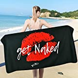 Pknoclan Black and Red Beach Towel, Red Lips with Funny Words Get Naked Beach Towel, 31.5 x 59 inches, Super Soft Water Absorbent Beach Towel for Bath, Travel, Pool, Swim, Lightweight