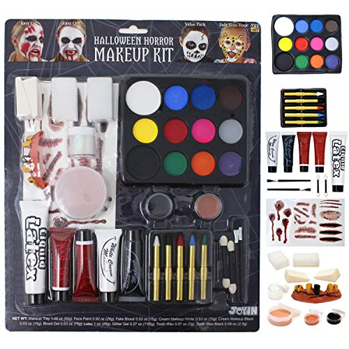 JOYIN 36 Stück Halloween Makeup Set Ultimatives Familien-Party Pack All-in-One-Set Easy On & Easy Off Kinderschminke Set for Halloween Party