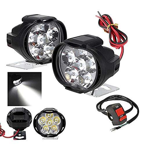 Tiamu 2 Piezas 6 Led Luz de Motocicleta Montaje del Faro 10W 1000Lm+ Interruptor Foco de Niebla para Scooter Universal 6000K Blanco Lámpara Drl de Coche