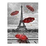 DIY 5D Diamante Pintura París Paraguas Rojo Torre Diamante Pintura Taladro Completo Cristal Diamantes de imitación Bordado Punto de Cruz