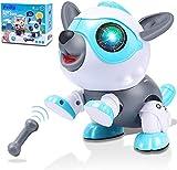 Felly Perro Robot para Niños, Juguete Robot para Bebe, Juegos Interactivo con Emociones y Movimiento, Ladra y Juega con su Hueso, Regalo para niños y niñas de 3 4 5 6 7 8 9 años (Azul)