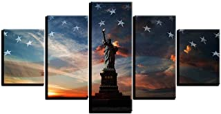 LMYDEWLH 5 Canvas Painting Nordic Statue of Liberty Flag Panel Living Room Wall Decoration Art Nouveau Modular Poster Picture-20x35 20x45 20x55-Framed