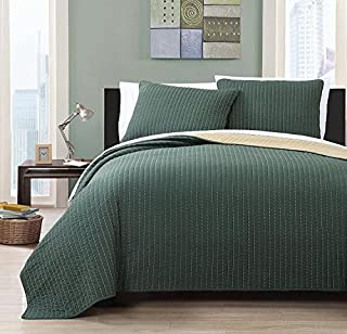 Simply Stylish Your Room Will Become with The Full/Queen Project Runway Reversible Quilted Coverlet Set; 100% Microfiber Fabric in Brilliant Forest Green and Gold Color; Hypoallergenic
