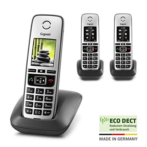 Gigaset Family – 3 schnurlose Telefone mit großem, farbigem Display und hoher Reichweite – anthrazit-grau
