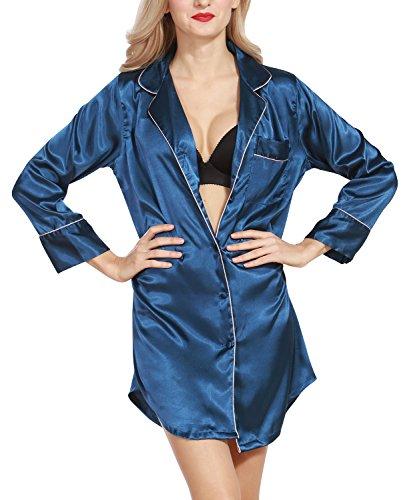 Dolamen Camisón para Mujer, Mujer Camisones Raso Camisa de Dormir, Nightdress Manga Larga, AtractivoCheck Buttoned Collar de la Camisa con el Bolsillo