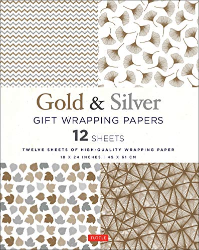 Gold & Silver Gift Wrapping Papers 12 Sheets: High-Quality 18 x 24 inch (45 x 61 cm) Wrapping Paper