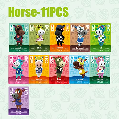 NFC Game Tag Seltene Charakterkarten für Animal Crossing New Horizons Amiibo-Karten, Hund Maus Hirsch Schaf Katze Kuh Pferd Bär Ente Serie für Switch/Switch Lite/Wii U/New 3DS (11 PCS Horse Series)