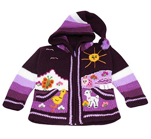 Pablo Vicente Infashion24 - Handgefertigte Kinderstrickjacke aus Peru, 50% Wolle und 50% Dralon, Größe 62-116, Farbe Lila (98/104)