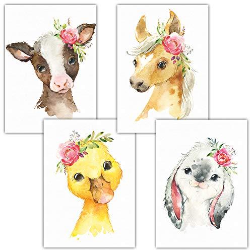 Frechdax® 4er Set Kinderzimmer Poster | A4 Bilder Babyzimmer | Deko Mädchen Junge (4er Set Blumen, Hase, Bauernhof, A4-21x29,7cm)