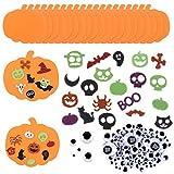 20Pcs Halloween Foam Pumpkins with 100Pcs Pumpkin Face Stickers Wiggle Googly Eyes Kids DIY Craft Kit Party Decorations