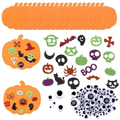 Toyssa 220 Piezas Kit de Decoración de Calabaza de Halloween Calabazas de Espuma Pegatinas de Espuma con Purpurina y Ojos Móviles Adhesivos para Decoración de Fiesta Manualidades Niños