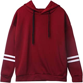 Patchwork Hoodie Women Long Sleeve Cute Contrast Hooded Sweatshirt Fall Drawstring Hoodies Red L