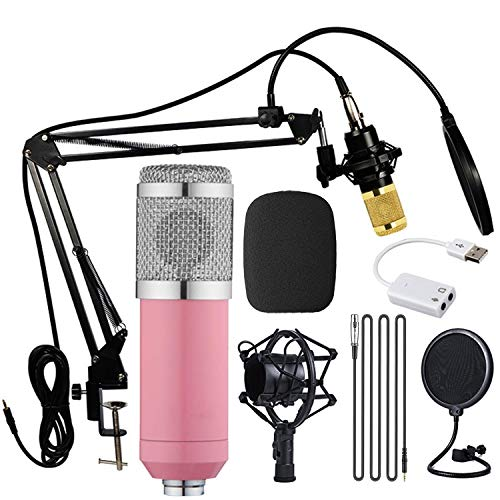 Condenser Microphone, Streaming mic, BM-800 Mic Kit, studio mic with Adjustable Mic Suspension Scissor Arm/Spider Shock Mount, for Recording, Gaming, Podcasting, Voice Over, YouTube. (Pink)